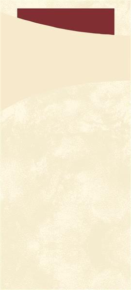 Bestecktasche Papier, creme mit dunkelroter Serviette, 8.5 x 19 cm