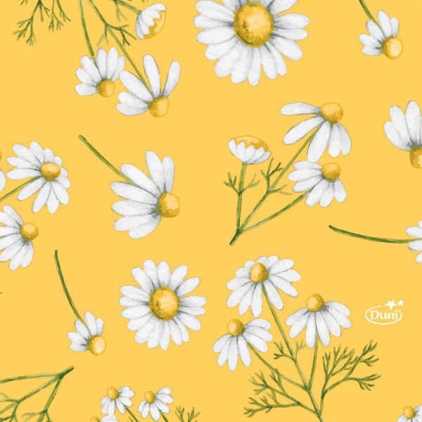 Papierservietten, Weiss, Gelb, 24 x 24 cm