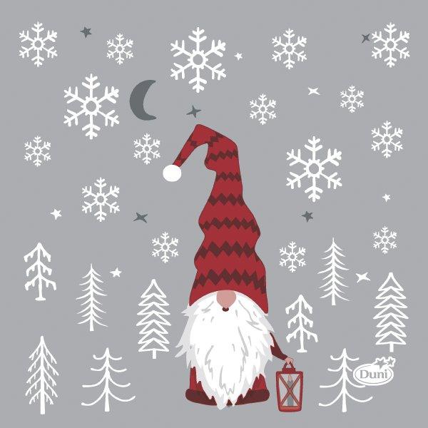 Papierservietten, Grau, Rot, 24 x 24 cm, Tomte Med Luva