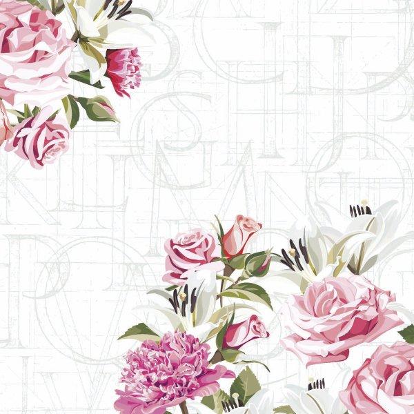 Papierservietten, Weiss, Rosa, 33 x 33 cm