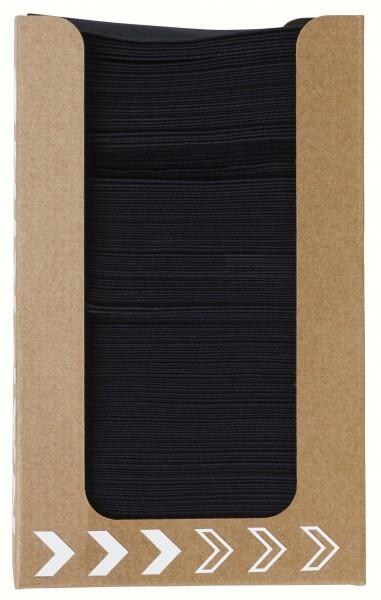 Serviettenspender, schwarze Servietten, 100 Stk.