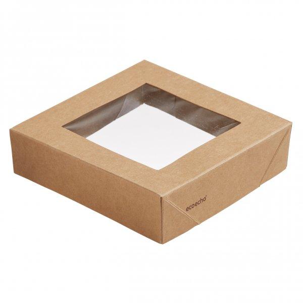 """Karton/PLA Deckel mit Fenster, Braun, """"Viking ecoecho Cube"""""""