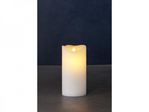 LED-Kerze, weiss, echtwachs, 7,5 cm x 15 cm