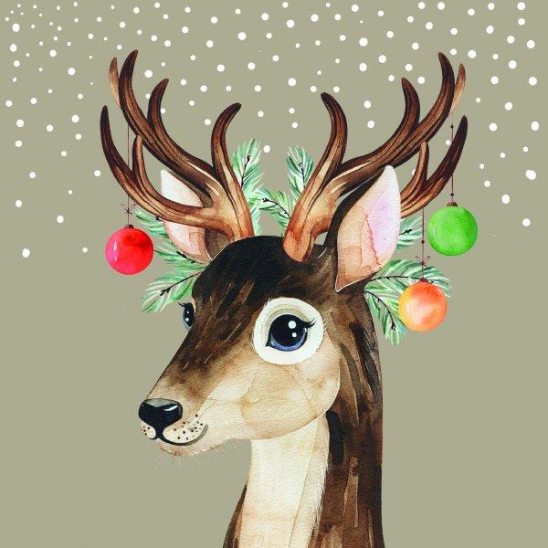 Papierservietten, Braun, 33 x 33 cm, Deer Baubles