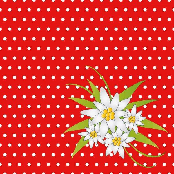Papierservietten, rot, 24x24cm, gepunktet