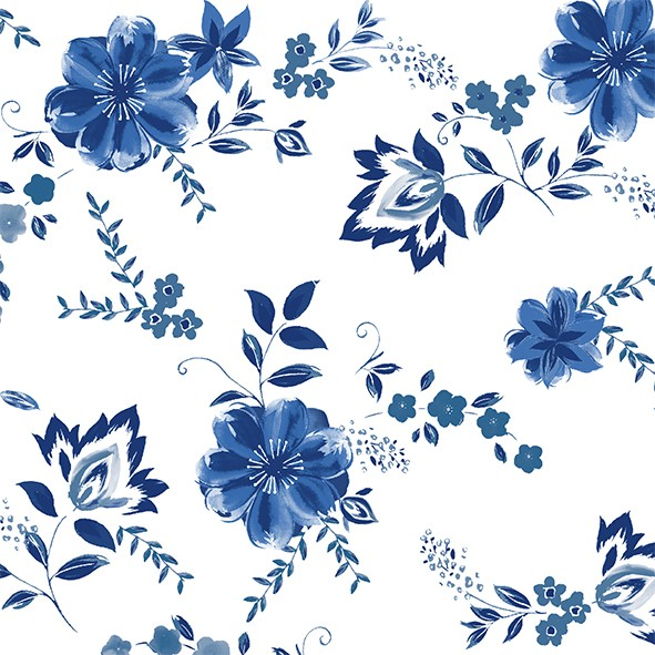 Papierservietten, weiss, blau, 33x33cm