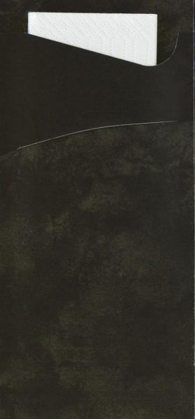 Bestecktasche Papier, schwarz mit weisser Serviette, 8.5 x 19 cm