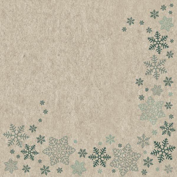 Papierservietten, Beige, Blau, 33 x 33 cm, Snowflakes