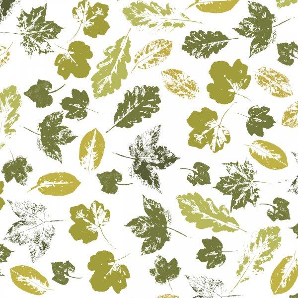 Papierservietten, Grün, Weiss, 24 x 24 cm, Stamped Leaves