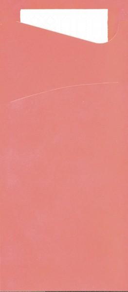 Bestecktasche Papier, pink mit weisser Serviette, 8.5 x 19 cm