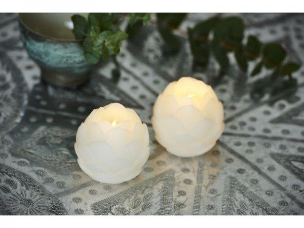 LED-Kerze, weiss, echtwachs, 6 cm x 6,7 cm, 2er Set