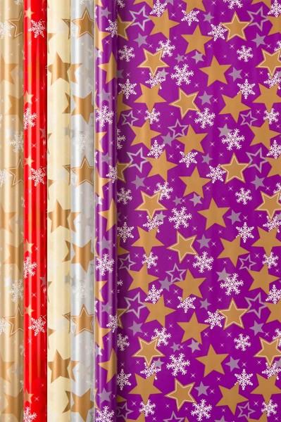 Geschenkpapier Weihnachten Christmas Stars 2 m x 70 cm 5 Stk.