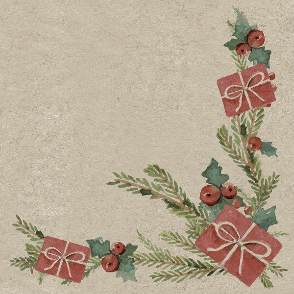 Papierservietten, Beige, Rot, 33 x 33 cm, Mistletoe with Present