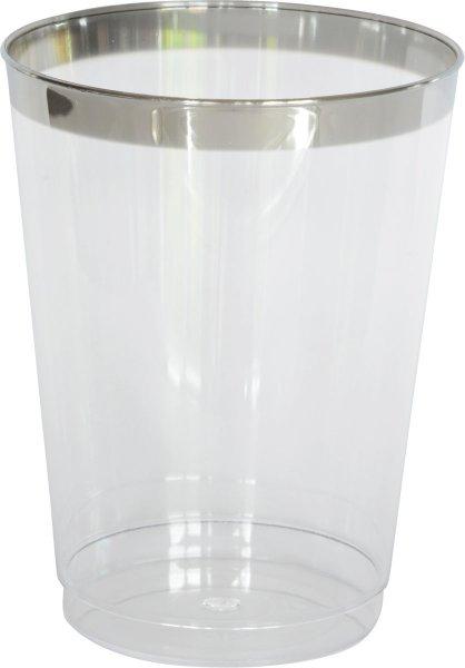 Plastik Wassergläser, transparent, silber, 30 cl