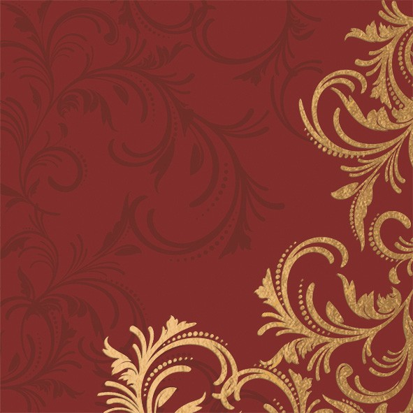 Papierservietten Rot Gold 24x24cm Grace Bordeaux