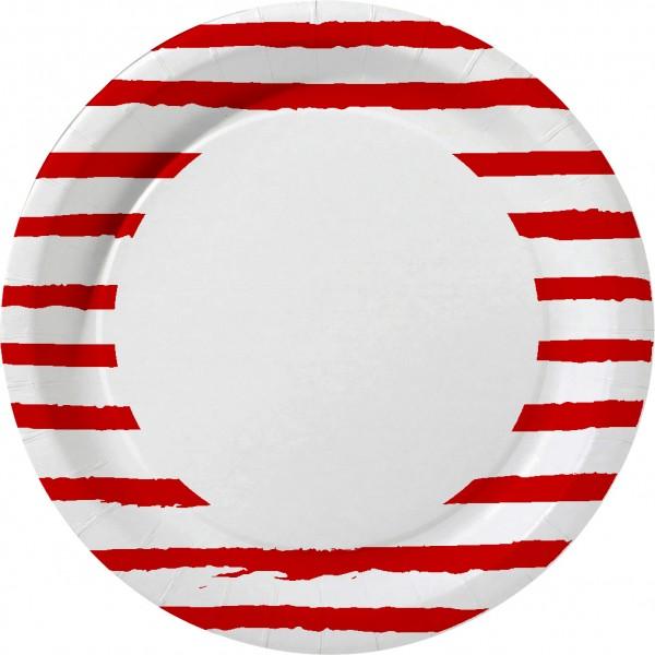 Pappteller rund, rot, weiss, ø22 cm