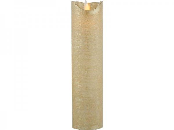 LED-Kerze, gold, echtwachs, 5cm x 20cm