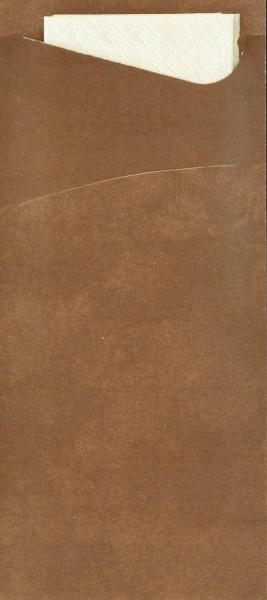 Bestecktasche Papier, wallnussbraun mit cremefarbener Serviette, 8.5 x 19 cm