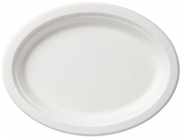 "Bagasse Teller oval, Weiss, ⌀ 26 cm, ""ecoecho"""