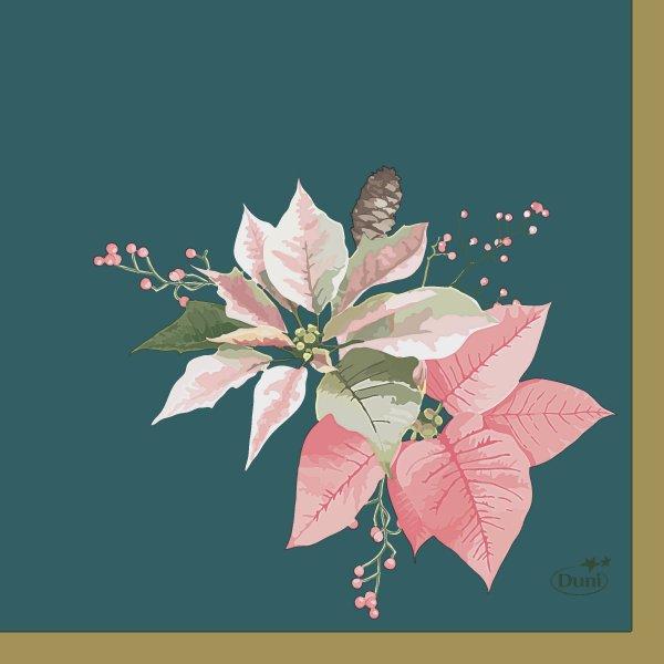 Papierservietten, Petrol, Rosa, 24 x 24 cm