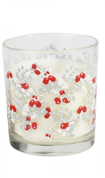 Kerzenglas Ellie, Weiss, Rot, 8 x ø 7,2 cm, ca. 30 Stunden
