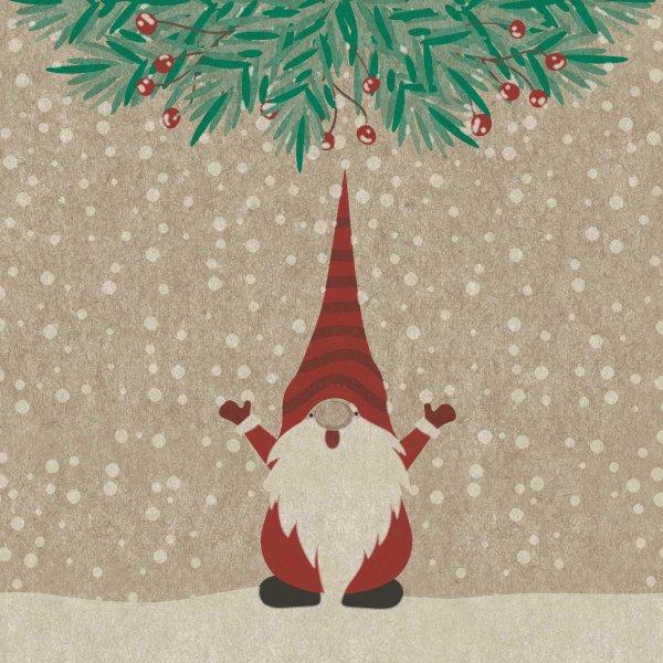 Papierservietten, Beige, Rot, 33 x 33 cm, Happy Santas