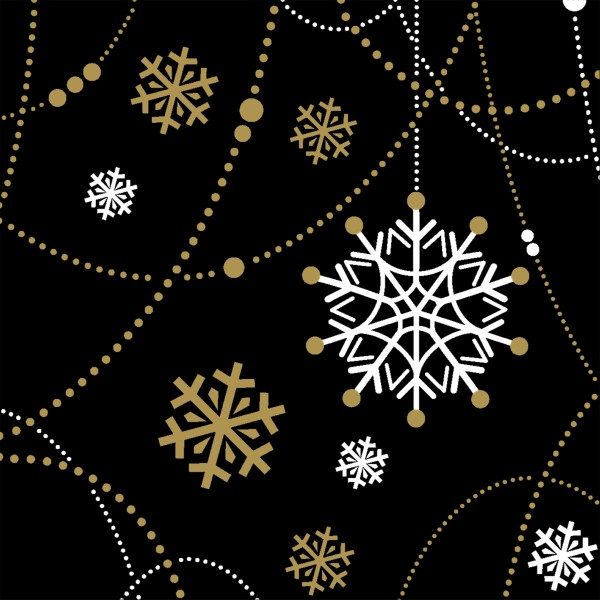 Papierservietten, Snow Necklace Black, 24x24cm