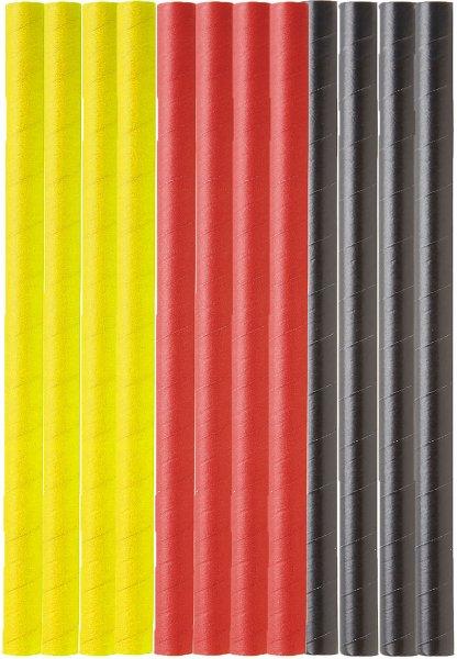 Bio Papiertrinkhalme, gelb, rot, schwarz, 15 cm