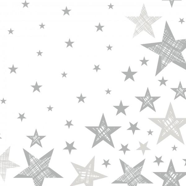 Papierservietten, Weiss, Grau, 33 x 33 cm