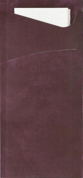 Bestecktasche Papier, violett mit weisser Serviette 8.5 x 19 cm