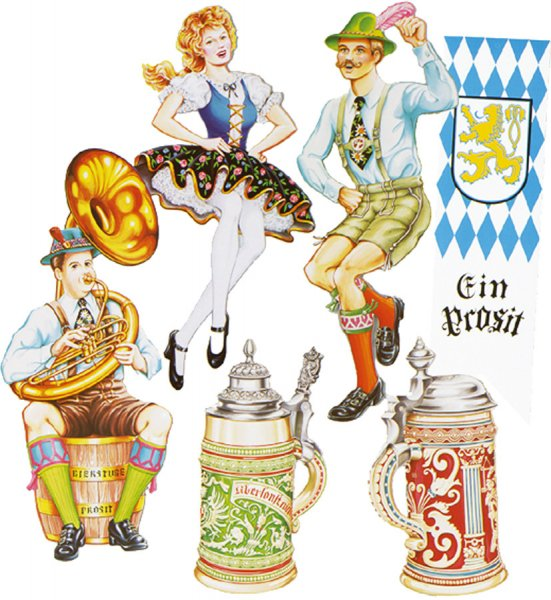 Oktoberfest Figuren-Set, Karton, 6-teilig