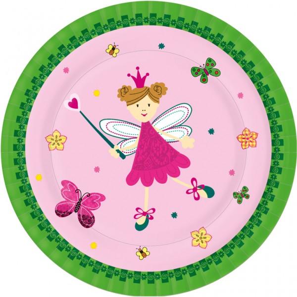 Pappteller rund, grün, rosa, ø 22cm