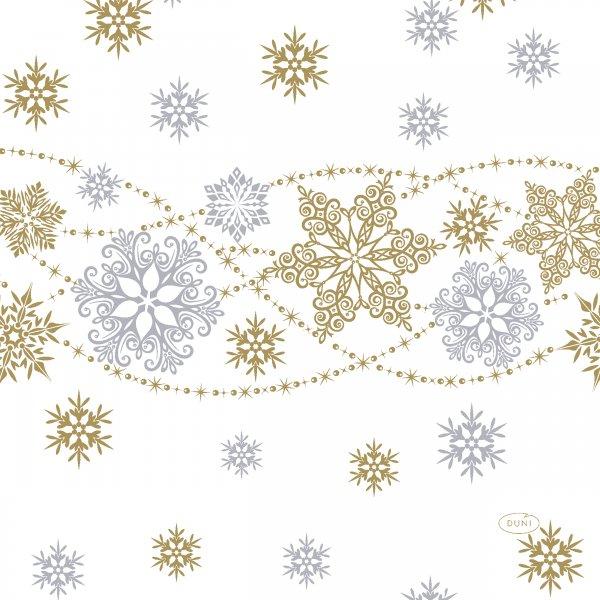 Papierservietten, Weiss, Gold, 33 x 33 cm