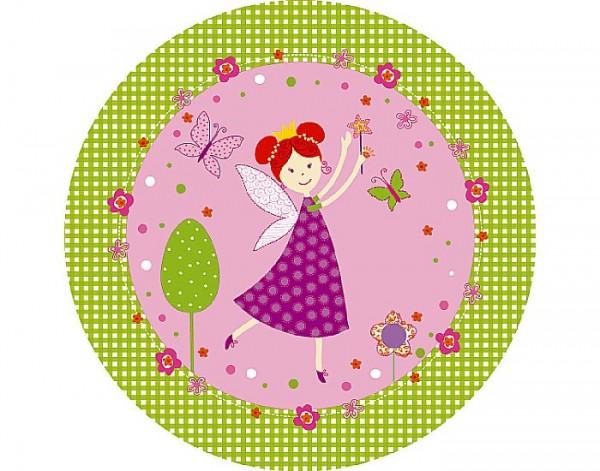 Pappteller rund, grün, pink, ø 22cm