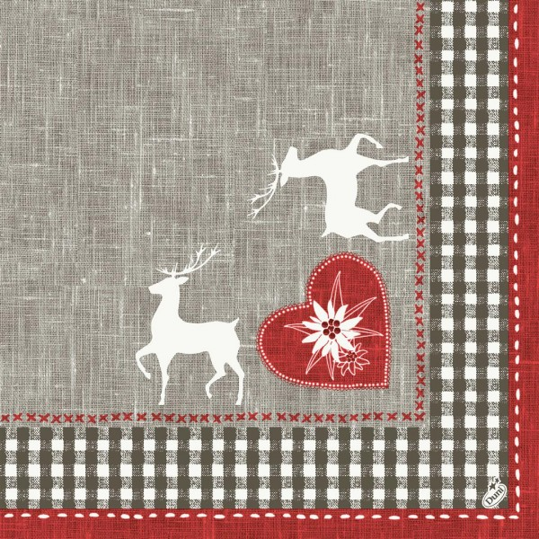 Papierservietten, rot, grau, 40x40cm, Alpenglück