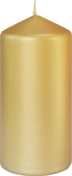 Stumpenkerze, Gold, matt, 15 x ø 7 cm, ca. 50 Stunden