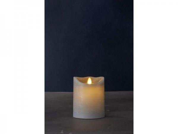 LED-Kerze, grau, echtwachs, 10cm x 12,5cm