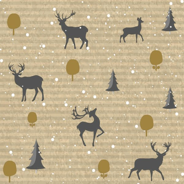 Papierservietten, Beige, Grau, 33 x 33 cm, Deer Forest