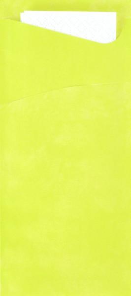 Bestecktasche Papier, hellgrün mit weisser Serviette, 8.5 x 19 cm