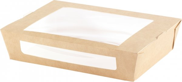 """Karton/PLA Menübox mit Fenster, Braun, 12 dl, """"ecoecho"""""""