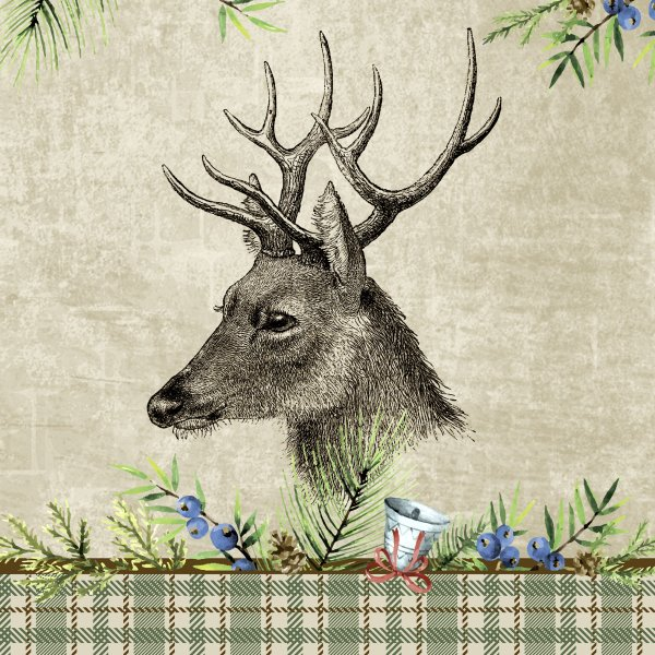 Papierservietten, Grau, Grün, 33 x 33 cm, Deer