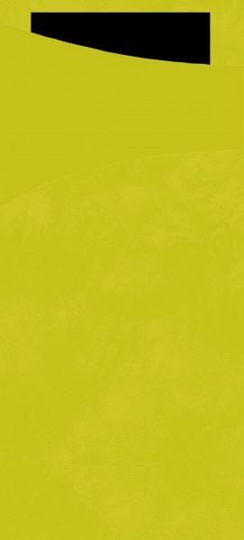 Bestecktasche Papier, hellgrün mit schwarzer Serviette, 8.5 x 19 cm