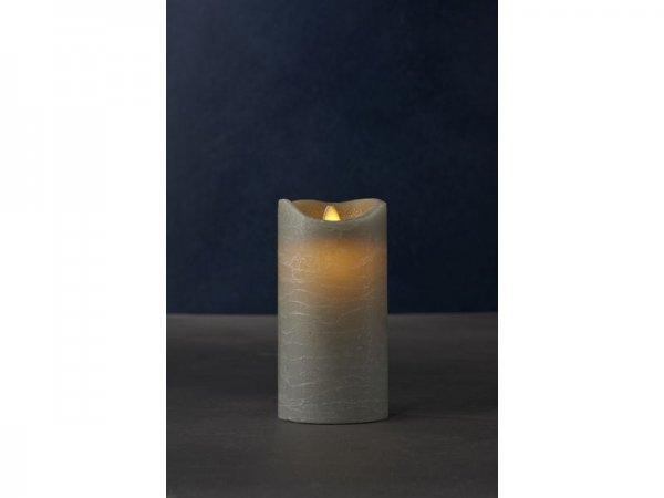 LED-Kerze, grau, echtwachs, 7,5cm x 15cm