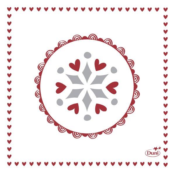 Papierservietten Weiss, Rot, 24 x 24 cm