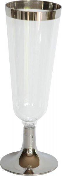 Plastik Champagnergläser, transparent, silber, 15 cl
