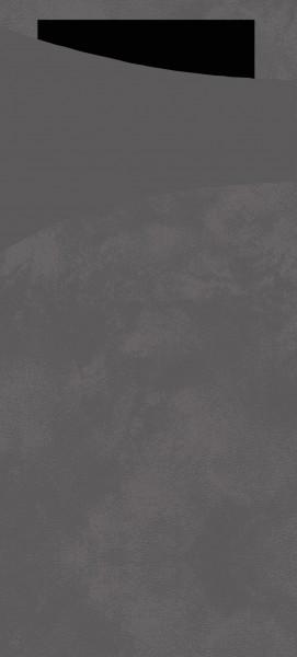 Bestecktasche Papier, granitgrau mit schwarzer Serviette, 8.5 x 19 cm