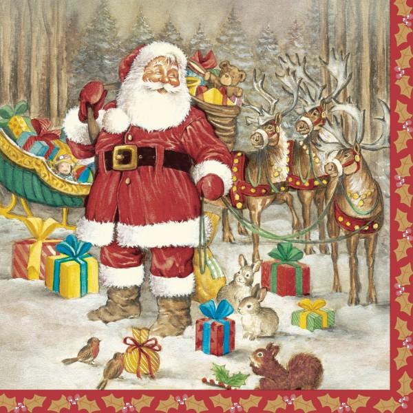 Papierservietten, hello Santa, 33x33cm