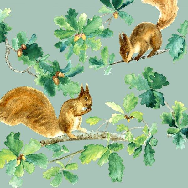 Papierservietten, Grün, Gold, 33 x 33 cm, Squirrels