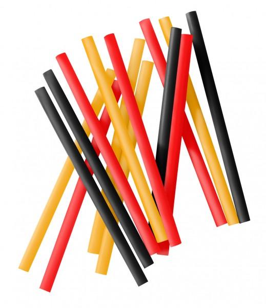 Cocktail-Strohhalme 15 cm, Plastik «schwarz, rot, gelb»