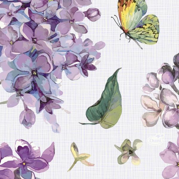 Papierservietten, Weiss, Lila, 24 x 24 cm
